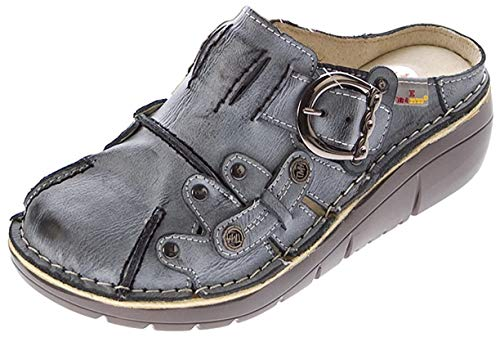 TMA Damen Leder Clogs Schuhe Schwarz Used Look Slipper echt Leder Comfort Sandalen Gr. 37