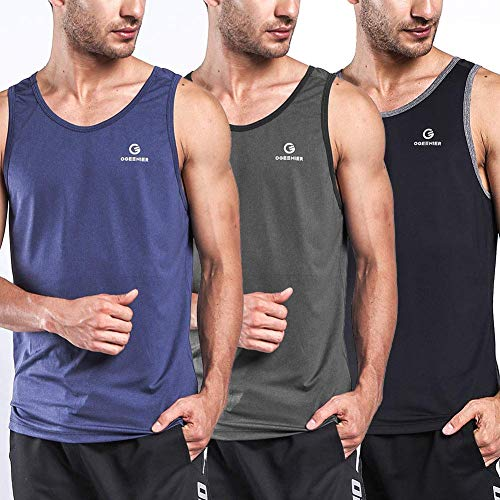Ogeenier Men's Dry Fit Workout Tank Tops Muscle Gym Sleeveless T-Shirts Fitness Bodybuilding Running Tank Top Shirt,Black,Blue,Grey,M
