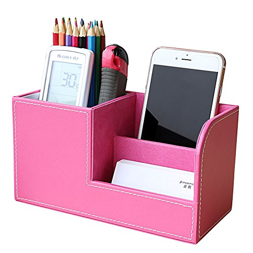 KINGFOM Wooden Struction Leather Multi-function Desk Stationery Organizer Storage Box Pen/Pencil,Cell phone, Business Name Cards Remote Control Holder Colors (S-Pink)