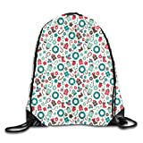 Fuliya Print Drawstring Backpack,Retro Style Traditional New Year Party Symbols...
