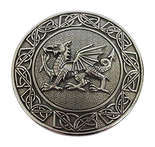 Gaelic Themes Traditional Welsh Dragon & Celtic Knot Sash Shawl Plaid Brooch Pin