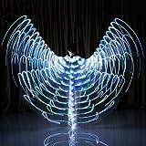 ベリーダンスのステージ衣類、360度パフォーマンスの小道具は、天使の羽の蝶の羽は、LED輝く天使,白