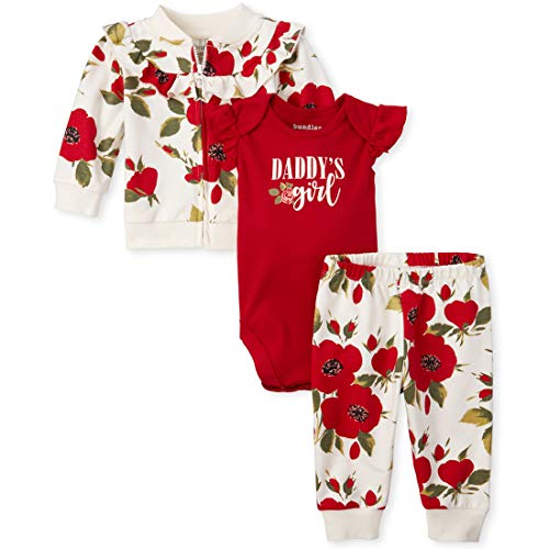 The Children's Place Baby Girls 3 Piece Jacket Set, Ruby, 12-18MOS