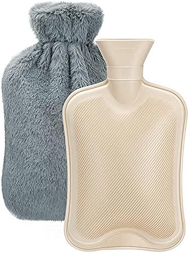 Bolsa de Agua Caliente de 2L, Dawdix Botellas de Agua Caliente con Suave Felpa Funda, Hot Water Bottle, bolsa agua caliente, mejor regalo (gris)