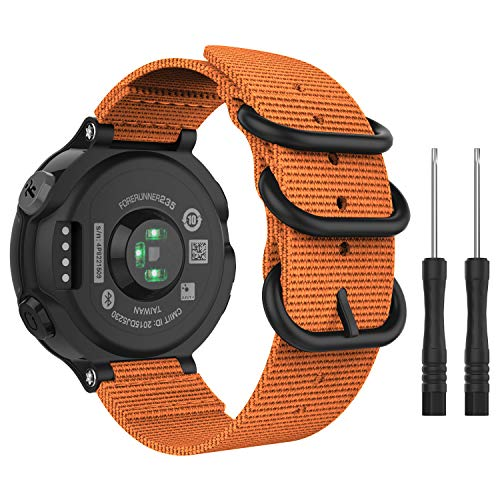 MoKo Correa Reloj Compatible con Forerunner 235/235 Lite/220/230/620/630/735XT/Approach S20/S6/S5, Pulsera de Reemplazo Ajustable de Nylón - Naranja