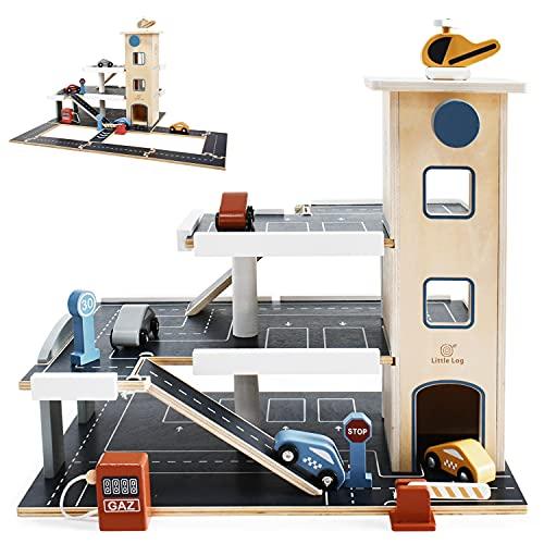 Little Log Parkgarage aus Holz Auto Parkhaus Garage mit Zubehör, Spielgarage mit Lift, Hubschrauber (70 x 50 x 36.5 cm)
