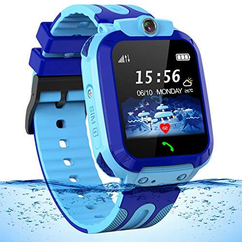 bhdlovely Smartwatch Kinder Wasserdicht Phone Kids Smart Watches Uhr Phone Kinder Smartwatch für Jungen Mädchen mit LBS Tracker SOS Voice Chat, Blau