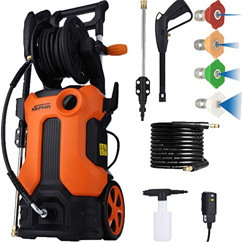3800PSI Electric Pressure Washer, 2.8GPM Power Washer 2000W High Pressure Cleaner Machine with 4 Nozzles, Spray Gun, Soap Bottle and Hose Reel for Homes Cars Driveways Patios Garden (Orange)