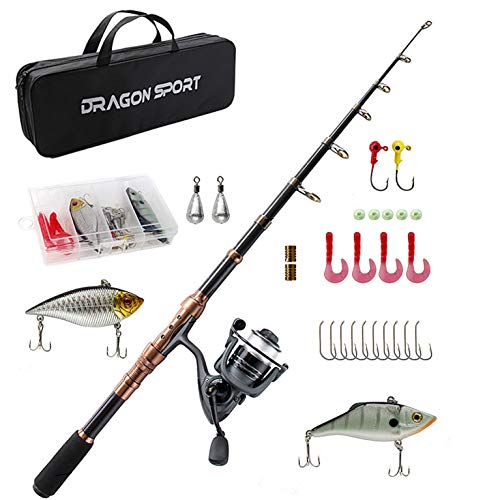 Telescopic Fishing Rod and Reel Combos Full Kit Fishing Accessories with Spinning Reel, Line, Lure, Hooks and Bag, Fishing Gear Set for Beginners Adults Freshwater Saltwater
