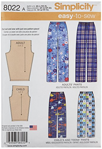 Simplicity Creative Patterns US8022A Child's, Teens' and Adults Pants Size: A (Xs - L/Xs - XL), 8022