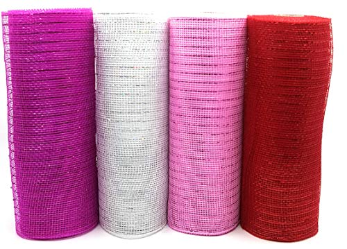 Valentine's Day Decorative 10' Wide Deco Mesh Rolls (Pack of 4 - Fuchsia, Pink, White, Red)