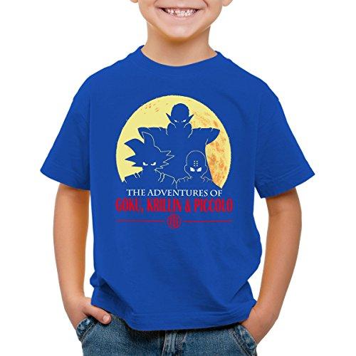 style3 The Adventures of Goku, Krillin and Piccolo T-Shirt pour Enfants, Color:Bleu;Talla:104