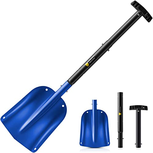 "lowest ORIENTOOLS Snow Shovel with 3 Piece Collapsible Design, Aluminum Lightweight Sport Utility Shovel, 26''-32'' Portable and Adjustable Snow Shovel for Car, online Camping, Garden popular (9"" Blade, Blue) sale"