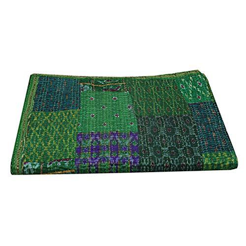 SHUBHARAMBH ENTERPRISES - Colcha de seda vintage, diseño de sari de seda bohemia, Kantha de seda bohemia, tamaño Queen Hippie manta bohemia, reversible, para decoración de Gudri
