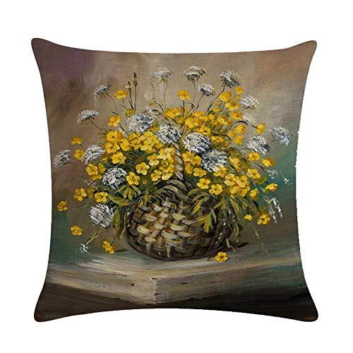 Funda de cojín Funda de Cojine Pintura al óleo del arte de las pequeñas flores amarillas Almohada para Cojín 45X45CM