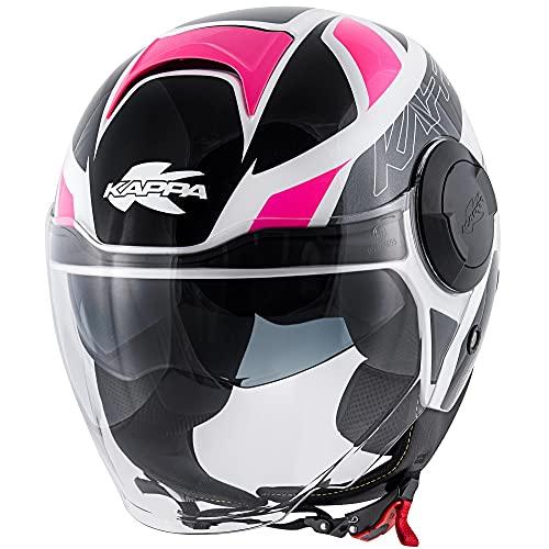 Helmet Motorradhelm Jethelm Kappa KV37 Oregon Ready wei� grau pink Gr��e XS