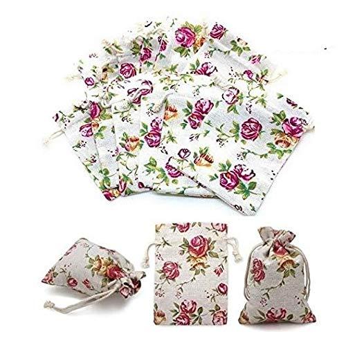 【 リネン 巾着袋 小 13.2×9.4cm 】きんちゃく袋 小分け袋 プレゼント おすそ分け 洗濯可 再利用可 米国製 (12袋)