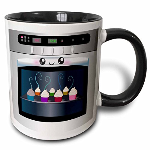 3dRose mug_58309_4'Cute kawaii happy smiling oven filled with baking cupcakes - for chefs foodies and cooking fans' Two Tone Black Mug, 11 oz, Multicolor