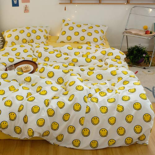 BlueBlue Emoji Duvet Cover Set Queen 100% Cotton Bedding for Kids Boys Girls Teens Woman Cartoon Yellow Smiley Face Emoticon on White 1 Happy Face Comforter Cover Full Zipper Ties 2 Pillowcases Queen
