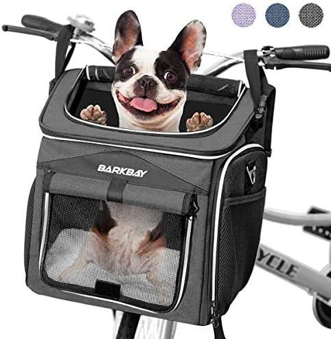BARKBAY Dog Bike Basket Carrier Expandable Foldable Soft Sided Dog Carrier 2 Open Doors 5 Reflective product image