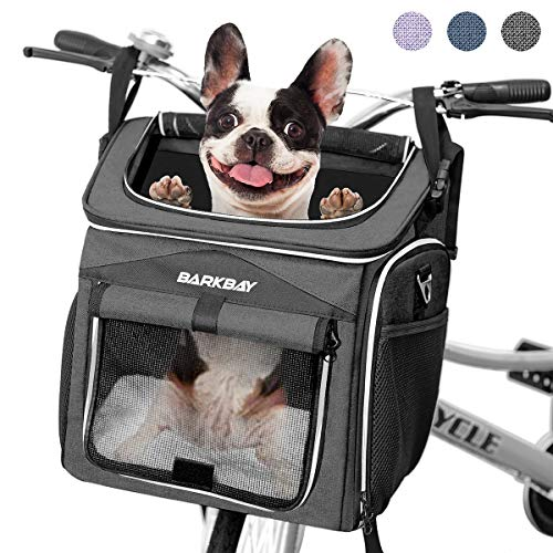 BARKBAY Dog Bike Basket Carrier, Expandable Foldable Soft-Sided Dog Carrier, 2 Open Doors, 5 Reflective Tapes, Pet Travel Bag,Dog Backpack Carrier Safe and Easy for Small Medium Cats and Dogs(Black)