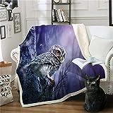 Decken,Persönlichkeit Eule Vogel 3D Einzigartige Drucktuch Mädchen Jungen Bettdecken Sherpa Decke Bettwäsche Plüschsofa Decke Geschenke Für Kinder Erwachsene Reisen Warme Decke,75X100Cm/30X40 Zoll