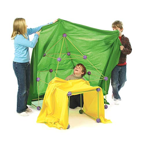 Woyada Kinderhütten-Bausatz, Baukasten mit Stange, Gliederkugeln und Zelt für Kinder, Jungen, Mädchen, tolles pädagogisches Geschenk