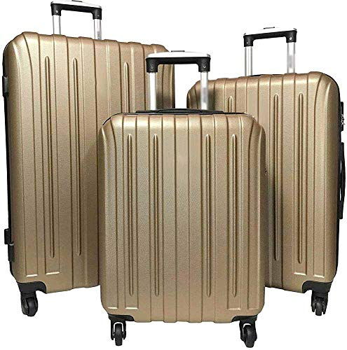 Hard Suitcase, Including 1 Cabin, 4 Wheels, Telescopic Handles, Zipper,Champagne