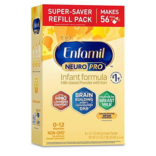 Enfamil NeuroPro Baby Formula inspired by Breast Milk, Brain and Immune Support with DHA, Iron & Prebiotics, Non-GMO, Refill box, 15.7 OZ, Pack of 2