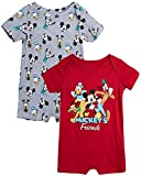 Disney Baby Boys' Mickey Mouse 2 Pack Short Sleeved Romper with Snap Closure (Newborn/Infant), Size 3-6 Months, Red/Grey Mickey & Friends
