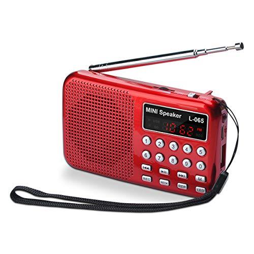 Songway - Mini Radio FM Altavoz MP3, luz y Bolsillo, Compatible con Tarjeta TF/USB, función de grabación, con Linterna de Emergencia, batería Recargable, almacena Estaciones automáticamente (Rojo)