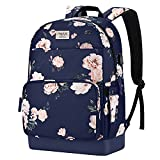 MOSISO 15.6-16 inch Laptop Backpack for Women Girls, Polyester Anti-Theft Stylish Casual Daypack Bag with Luggage Strap & USB Charging Port, Camellia Travel Business College School Bookbag, Blue