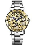Alienwork Reloj Automático Hombre Mujer Plata Pulsera de Metal Acero Oro Esqueleto