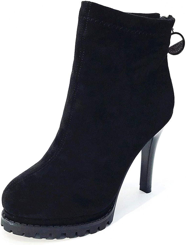 GTVERNH Women's shoes Fine Heels Super High Heels 10Cm Suede Waterproof Platform Back Zipper Boots Knight Boots Women's shoes Fashion
