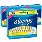 Always Maxi Feminine Pads with Wings for Women, Size 1, Regular Absorbency, FSA HSA Eligible, Unscented, 45 Count - Pack of 3 (135 Count Total)