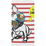 chillChur-DD Bath Towel Forte Populaire Bulldog Français Doux Spa Plage Serviette De Bain du Bout des Doigts Salle De Bains Plage Douche Wrap