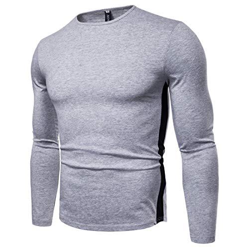 T-Shirt Manches Longues Homme 2019 Automne Grande Taille Coton Blend Casual Chemise à Fond Slim ou Code-Taille: S-XXL,lightgray,L