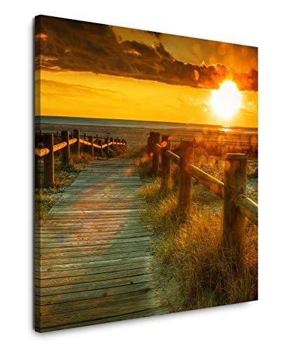 EAUZONE GmbH Sonnenaufgang mit Meer und Steg 60x60cm Wandbild auf Leinwand, Kunstdruck Moderne Bilder