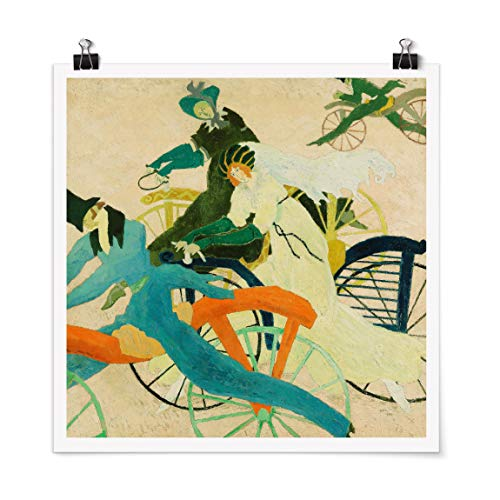 Bilderwelten Poster Wanddeko Lyonel Feininger - Draisinen-Fahrer Quadrat, Matt 30 x 30cm