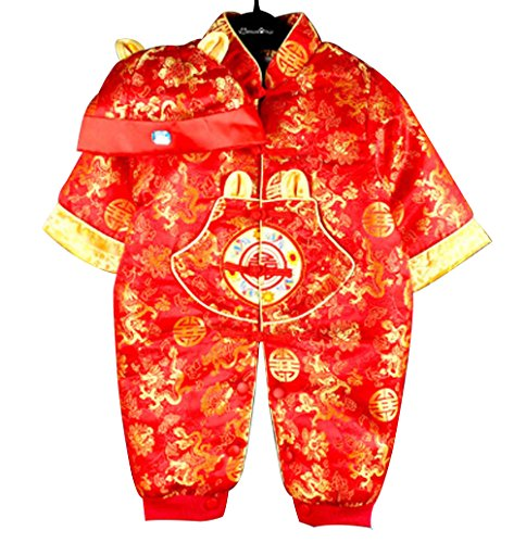 Baby Newborn Boy Girls Chinese New Years Asian Shirt Outfit … (0 to 2 Months, Red Dragon)