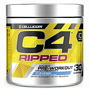 C4 Ripped Pre Workout Powder ICY Blue Razz | Creatine Free + Sugar Free Preworkout Energy Supplement for Men & Women | 150mg Caffeine + Beta Alanine + Weight Loss | 30 Servings