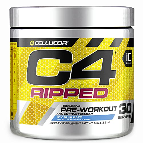 C4 Ripped Pre Workout Powder Icy Blue Razz   Creatine Free + Sugar Free Preworkout Energy Supplement for Men & Women   150mg Caffeine + Beta Alanine + Weight Loss   30 Servings