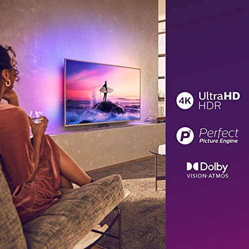 Philips 50PUS8505/12 Ambilight - Televisor, Smart TV de 50 pulgadas (4K UHD, P5 Perfect Picture Engine, Dolby Vision, Dolby Atmos, Control de voz, Android TV), Color plata claro (modelo de 2020/2021) miniatura
