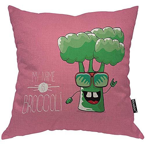 QDAS Plantaardige Kussensloop Leuke Groene Lachende Broccoli Botanische Plant Met Woord Glazen Kussensloop Kussen Accent Voor Sofa Stoel Roze