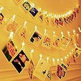 Hezbjiti Luci Led Clip Foto, 4M 30 LED Striscia Foto Clip Luce Bianca Calda con Foto Mollette per Natale Decorazione Camere Festa di Matrimonio Compleanno