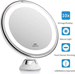 Portable 10X Magnifying LED Lighted Makeup Mirror with Strong Suction Cup 360 Degree Rotation