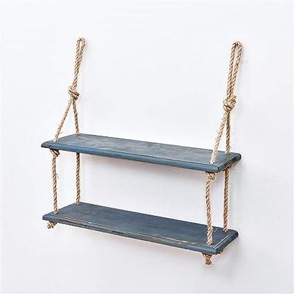 Estante de Pared de Madera con estantes de Cuerda de cáñamo Partición de Tablero para Colgar en la Pared para Sala de Estar como estantería de ...