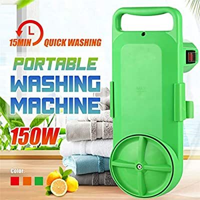 Portable Mini Handy Washing Machine Fast Cleaning with Timer for Travel Clothes and Fruit Vegetables (Green, 15.5×44×16.5cm)