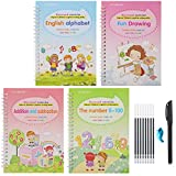 VLOJELRY 4Pcs Practice Copybook for Kids - The Print Handwriting Workbook - Reusable Handwriting Book - Alphabet Number Math Drawing Groove Copybook Set (Style One)