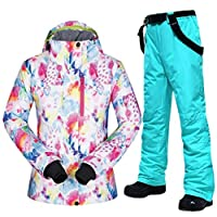 スキー服 女子スキースーツブランド冬の防風防水透湿性暖かいセットのスキージャケットや雪のパンツスキーやスノーボードのスーツ スキースーツ (Color : H, Size : M)
